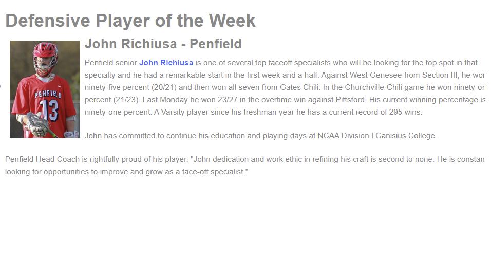Player of the Week – John Richiusa!